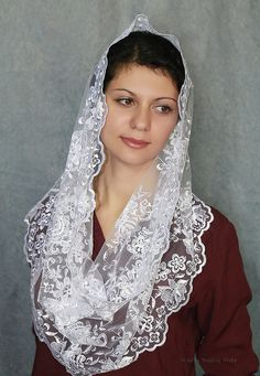 white mantilla Infinity,veil latin mass Scarf,chapel mantilla,Lace Head Covering,church veil,catholic accessories,Religious Head Coverings