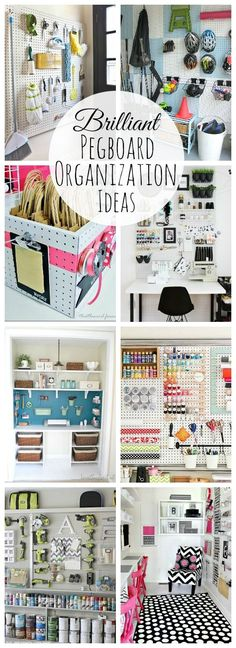Organization Create a pretty and functional organized space with these awesome pegboard organization ideas! // Create a pretty and functional organized space with these awesome pegboard organization ideas!