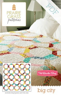 Big City Downloadable PDF Quilt Pattern Prairie Grass Patterns - The logo is added in a clean way. The pattern titles are in a consistent font across the collection.