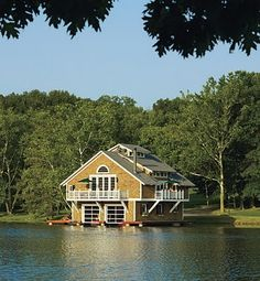 How about a trip to this boat house on a scenic lake?