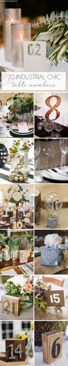 20 Industrial Table Numbers | SouthBound Bride | http://www.southboundbride.com/industrial-chic-wedding-table-numbers