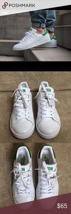 Adidas Women's Original Stan Smith Shoes These are brand new Adidas Women's Originals Stan Smith Shoes.  Style - B24105  Size - 5.5 (Runs large) Color - White/Green MSRP $75  Details  Perforated stripes detail the sides of an iconic tennis shoe updated in a breezy mesh upper with a reflective overlay and finished with a contrasting logo overlay at the heel.  - Round toe - Leather construction - Lace-up style - Perforated signature side accents - Contrast heel counter - Grip sole  Materials…
