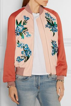 Jonathan Saunders - Cecily embroidered crepe bomber jacket 79d15e7d1e