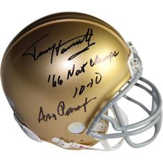 Terry HanrattyAra Parseghian Dual Signed Notre Dame Mini Helmet w 66 Natl Champs 10-10 Insc. by Terry Hanratty - Terry Hanratty and Ara Parseghian have personally hand-signed this Notre Dame mini helmet.Inscribed 66 Natl Champs 10-10 By Terry Hanratty100% Guaranteed AuthenticIncludes Steiner Sports Certificate of Authenticity Features Tamper-Evident Steiner HologramPerfect Collectors Item. Gifts > Licensed Gifts > Ncaa > All Colleges > Notre Dame. Weight: 1.00
