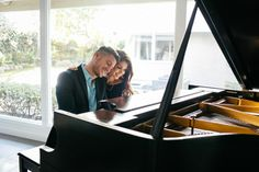 For the musical couple, the piano is a wonderful engagement photo prop