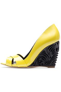 Rupert Sanderson Yellow Sandal with Black Wedge Heel Spring 2014 #Shoes #Wedges