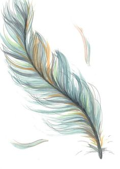 Original Drawing/Illustration - Blue Feather - I want this tattoo! So beautiful and delicate, I love it! Feather Drawing, Feather Tattoo Design, Watercolor Feather, Feather Art, Blue Feather, Plume Tattoo, White Feather Tattoos, Feather With Birds Tattoo, Tattoo Watercolor