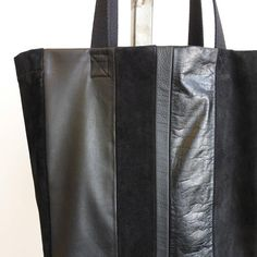 Striped black leather and suede boxy tote bag. Repurposed