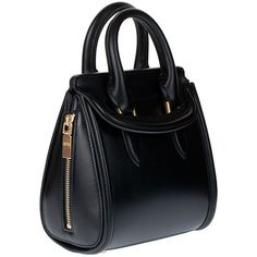 Alexander McQueen Mini Heroine Black Leather Handbag ($1,565) via Polyvore