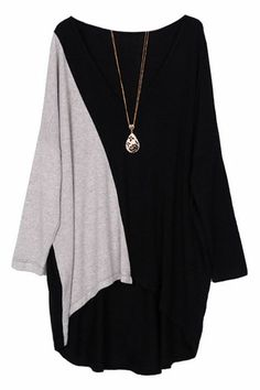 Romwe Asymmetric Oversized Color Block T-shirt