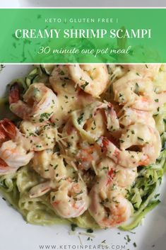 Only 5 net carbs per serving for this LCHF/KETO meal! All you need is ONE POT and 30 minutes to make this creamy shrimp scampi! Only 5 net carbs per serving for this LCHF/KETO meal! All you need is ONE POT and 30 minutes to make this creamy shrimp scampi! Seafood Recipes, Diet Recipes, Healthy Recipes, Low Carb Shrimp Recipes, Shrimp Recipes With Rice Healthy, Recipes Dinner, Vegan Keto, Paleo, Cereal Keto