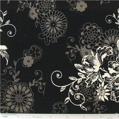"""Zephyr Floral on Black Fabric is 44"""" - 45"""" wide and 100% cotton.    CARE INSTRUCTIONS - Machine Wash, Warm; Tumble Dry; Remove Promptly.    Available in 1-yard increments. Average bolt size is approximately 8 yards. Price displayed is for 1-yard. Enter the total number of yards you want to order."""
