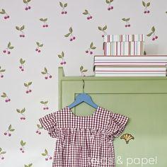 papel pintado infantil cerezas rosas, telas & papel