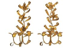 Italian Gilt Tole Sconces, Pair