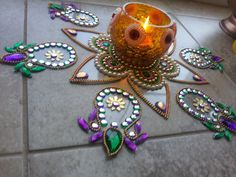 Vintage Collection One of its kind Magical Art Indian Rangoli Traditional Kundan Indian Designer Kolam - Ready to use on Etsy, $44.00 CAD