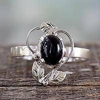 Ornate Handcrafted Silver and Onyx Cocktail Ring - Blackberry Blossom Malachite Jewelry, Gemstone Jewelry, Handmade Sterling Silver, Sterling Silver Necklaces, Rock Rings, Onyx Ring, Unique Rings, Cocktail Rings, Blackberry