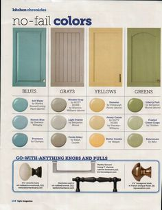 Great colors to paint your kitchen cabinets, these colors will always look fab! Blues: Salt Water by Martha Stewart Living Paint Honest Blue by Sherwin … Read More: