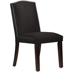 Skyline Furniture Black Solid Pine Frame Polyester Fill Nail Button Arched Dining Chair