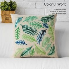 Watercolor Geometric Abstract Green Fresh Stripes Leaf Wave Linen Cushion Covers Decorative Throw Pillow Case Cases Cover 18""