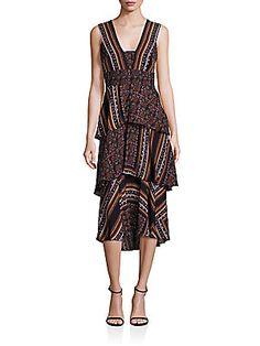 A.L.C. Hayley Scarf-Print Tiered Dress