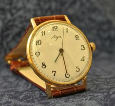 Famous Soviet ultrathin wristwatch Luch with a gold-plated metal Soviet watch Russian watch Vintage Watch Men от mensVintageWatches, $58.00