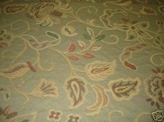 SAGE GREEN FLORAL CHENILLE UPHOLSTERY FABRIC-3 YDS [ancienne ...