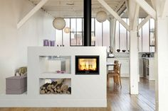 The Dovre Zen 102 Double Sided Inset Wood Burning Stove combines big impact with compact dimensions. The firebox size and heat output is ideal for linking two smaller living spaces ensuring a fabulous and full flame picture from both sides of the f Wood Burning Fireplace Inserts, Wood Burning Fires, Küchen Design, House Design, Interior Design, Double Sided Stove, Zen Interiors, Home Fireplace, Double Fireplace