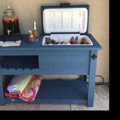 Custom Grill Table or Cabinet for Kamado Joe, Big Green Egg, Primo grills - Customize your Outdoor Grill Island & Beverage Bar Table Grill, Grill Cart, Bar Grill, Patio Cooler, Outdoor Cooler, Outdoor Mini Fridge, Bar Armoire, Plywood Furniture, Parrilla Exterior