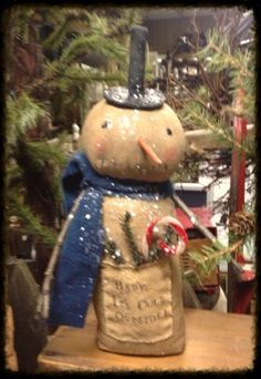 Primitive Snowman Baby, It's Cold Outside!  Liberty Creek Primitives