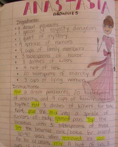 "6th grader--Rebekkah--attempted to ""bust"" the Anastasia myth with this ""recipe metaphor,"" and it earned her a ""Mr. Stick of the Week"" award.  Nice job, Rebekkah!"