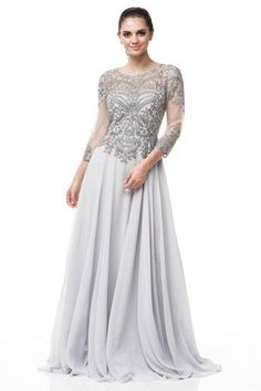 A- line Silver embroidered sleeves mother of the bride dress or groom chiffon long gown Bride Groom Dress, Bride Gowns, Mother Of The Bride Dresses Long, Long Evening Gowns, Chiffon Gown, Colored Wedding Dresses, Special Occasion Dresses, Wedding Bolero, Prom Dress