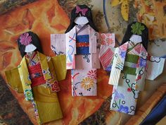 3 x Japanese Paper Origami Doll by Chomelle on Etsy, $9.00