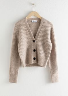 Wool Blend Cardigan - Oatmeal - Cardigans - & Other Stories Chunky ribbed cardigan with three large button closures and a v-cut neckline. Length of cardigan: / Baby Cardigan, Ribbed Cardigan, Wrap Cardigan, Cropped Cardigan, Cashmere Cardigan, Fashion Story, S Models, Mode Style, Fashion Advice