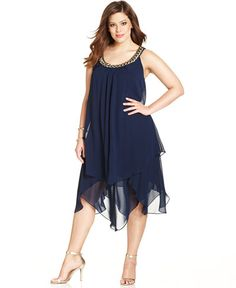 SL Fashions Plus Size Sleeveless Tiered Shift