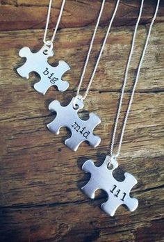 Sister Necklace, Matching Little Sister Middle Sister and Big Sister Necklace Set Of Gift For Big Siblings Tattoo For 3, Sibling Tattoos, Sister Tattoos, Sister Necklace, Necklace Set, Happy Birthday Jesus, Best Friend Necklaces, I Love Jewelry, Puzzle Pieces