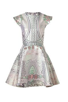 Mary Katrantzou Ecru/Pastel Lurex Jacquard Lella Dress @Refinery29
