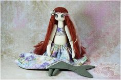 ♥ Curiosités Bohèmes art dolls ♥ OOAK high end textile art by Caroline B.  Once upon a time there was a beautiful little mermaid doll with big