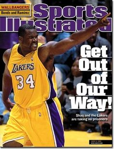 "Sports Illustrated cover - Shaquille ""Shaq"" O'Neal  Standing 7 ft 1 in tall and weighing 325 pounds, he was one of the heaviest players ever to play in the NBA. O'Neal played for 6 teams throughout his 19-year NBA career.  O'Neal's individual accolades include the 1999–2000 MVP award, the 1992–93 NBA Rookie of the Year award, 15 All-Star game selections, 3 Finals MVP awards, 2 scoring titles, He ranks 6th all-time in points scored, 5th in field goals, 13th in rebounds, and 7th in blocks."