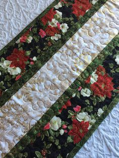 Christmas Table Runner Quilt, Green, White, Gold, Red, Snowflakes, Pointsettia, Floral, Quiltsy Handmade by KeriQuilts on Etsy