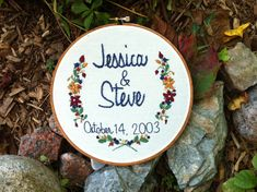 "Personalized Anniversary or Wedding Hand Embroidery Hoop Art, Custom Order Embroidery, 7"" Hoop"