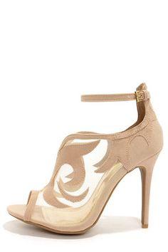 59a80916f30 Yoki Adelpha Beige Mesh Ankle Strap Heels