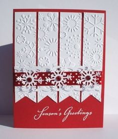 Pretty Little Snowflakes by ladybug91743 - Cards and Paper Crafts at Splitcoaststampers In fact, any Holiday greeting card is usually a cards specially oriented with the Yuletide get-togethers involving November 25th. A Christmas time greeting card can be a message to any or all the individuals right here and also removed that we'll remember these yearly when the elements gets to be a touch colder. #christmas cards #christmas Christmas Card Crafts, Homemade Christmas Cards, Christmas Cards To Make, Homemade Cards, Holiday Cards, Scrapbook Christmas Cards, Homemade Greeting Cards, Beautiful Christmas Cards, Christmas Snowflakes