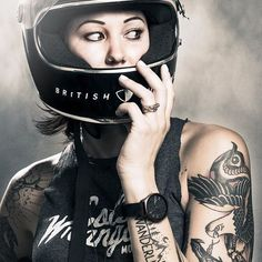 symbols and tattoos and girls on bikes Lady Biker, Biker Girl, Bike Tattoos, Cafe Racer Girl, Cool Motorcycles, Riding Helmets, Riding Bikes, Rock Style, Bike Life