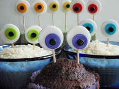 Monster Eyes Edible Fondant Cupcake Topper Decorations. $14.00, via Etsy...cute idea.
