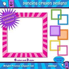 8eef1979880a Bright and colorful borders and frames. Perfect for classroom projects and  TeachersPayTeachers products. Graphics. Teachers Pay Teachers
