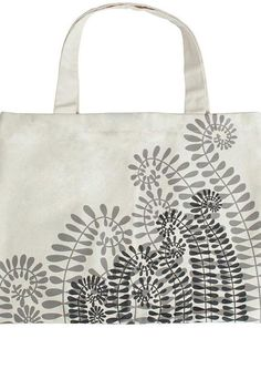 $35, Grey Print Canvas Tote Bag: Ravenlily Ashoka Fern Tote. Sold by shoptiques.com. Click for more info: https://lookastic.com/women/shop_items/233505/redirect