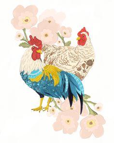 Rooster & Chicken with flowers illustration print - inch wall art, farmhouse decor Rooster Illustration, Flowers Illustration, Rooster Painting, Rooster Art, Owl Art, Bird Art, Scandinavian Folk Art, Chicken Art, Decoupage