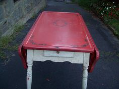 Fabulous Cherry Red Enamel Top Drop Leaf 1930's Table Decals Drawer With Glass…