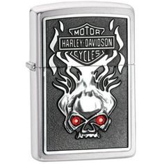 Zippo 28267 Harley Davidson Skull Red Eyes Lighter