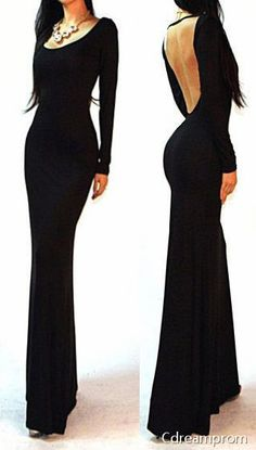 Plain and Simple black prom gown, with open back.